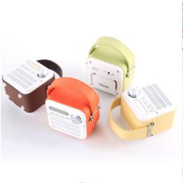 Wholesale Radio Leather - Wholesale-Leather Skin Portable Retro Bluetooth Speaker With FM Radio Support TF Card