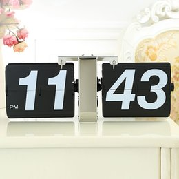 Wholesale Table Numbers Stands - creative Desk clock with one foot Modern personality automatically flip design arabic numbers stand desk table clocks