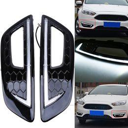 Wholesale Ford Bumper Covers - 1 Pair Front Bumper Lower Left&Right Side Gloss Black Fog Light Cover LED DRL Daytime Running Light For Ford Focus 2015-2016