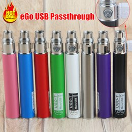 Wholesale Ego Passthrough Battery E Cigarettes - ego 510 ego battery micro usb passthrough ego-t battery with USB Cable 650mah ugo-t vape batteries pen e cigarette e cigs