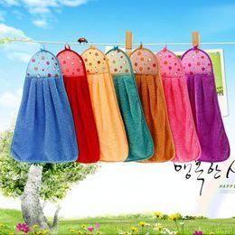 Wholesale Wholesale Kitchen Towels Dishcloths - Hand Towels Kitchen Cartoon Thick Hanging Towel Cloth Soft Plush Dishcloths Multicolor