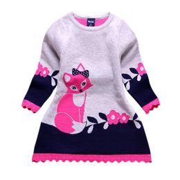 Wholesale Girls Long Sleeve Sweater Dress - Double-layer Long-Sleeve Autumn Winter Kids Fox Clothing Thick Girl Fox Sweater Dress for Children 4-8 Y