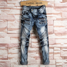 Wholesale Boot Cut Pants For Men - 2017 New Fashion Designers Mens Ripped Pencil Stretch Jeans Boot Cut Slim Fit Skinny Biker Jeans Pants Famous Brand Mens Jeans For 4 Season