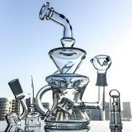 Wholesale Free Cheese - Clear Vortex Recycler Samll Bong Waterpipe Swiss Cheese Perc Oil Rigs Smoking Water Bongs With 14mm Bowl Piece Quartz Banger DGC1287
