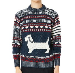 Wholesale Dogs Wool - 2017 New fashion Dog print men sweater autumn winter brand classic TB browne twist pullover o-neck Slim knit pullover sweater men