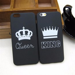 Wholesale Crown Iphone Case Cover - King Queen Soft TPU Ultra Thin Back Covers Phone Cases Silicone Crown Shell DHL Free Ship for IPhone 6 6s 5 5s SE