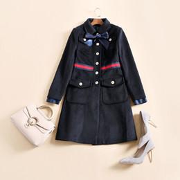 Wholesale Wool Long Coats - Free Shipping 2017 Autumn Dark Blue Bow Collar Single Button Runway Woolen Women's Coats High End Brand Same Style Coat Women 121320