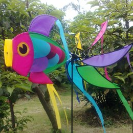 Wholesale Outdoor Spinners - Wholesale- Garden Yard Beach Windmill Decorations 3D Rainbow Fish Wind Spinner For Kids Outdoor Playing
