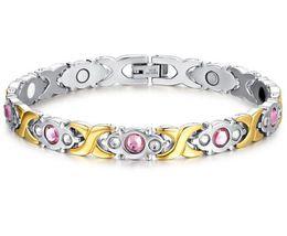 Wholesale Steel Cross Charms For Bracelets - New Arrival Germanium Bracelet Magnetic ion Nano Energy 4in1 Hearth Bracelet Titanium Steel Gold Plating Hand Chain For Women