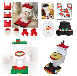 Wholesale Bathroom Pads - 2017 Christmas Eco Friendly Toilet Foot Pad Seat Cover Cap 3Pcs Christmas Decorations Happy Santa Toilet Seat Cover and Rug Bathroom Set