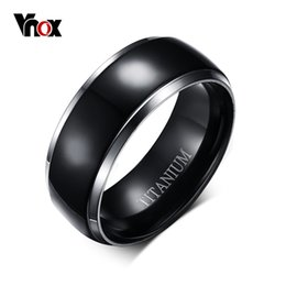 Wholesale Black Titanium Jewelry - Vnox Mens Titanium Ring Black Engagement Wedding Jewelry USA Size 100% Titanium Metal