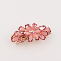Wholesale Butterfly Crystal Hair Clip - Crystal cat eye stone flower butterfly peacock hair clips barrettes little girl lady women lovely lassic gift clips mix color GLFJ8002