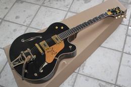 Wholesale Ebony Fingerboard Hollow - Factory Custom Shop Semi Hollow Body black Falcon 6120 Jazz Ebony fingerboard Electric Guitar With Tremolo
