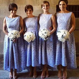 Wholesale Junior Girls Hi Lo Dresses - Lavender Lace High Low Cheap Bridesmaid Dress 2018 Jewel A Line African Girl Junior Maid Of Honor Gown Bridal Guest Party Prom Dresses