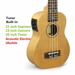 Wholesale Acoustic Left - Soprano Concert Tenor Acoustic Electric Ukulele 21 23 26 Inch Small Mini Guitar 4 String Ukelele Guitarra Built In Tuner Uke