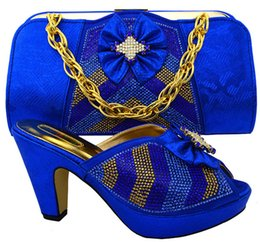 Wholesale dress for office lady - New fashion heel 10CM rhinestone and bowtie style african shoes match handbag set ladies pumps for dress MM1028 royal blue