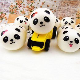 Wholesale Wrist Strap Key Chain - hot Wholesale Jumbo Panda Squishy Bread Semll Charm Bun Cell Phone Strap Pendant Wrist Rest key chain for friend birthday gift