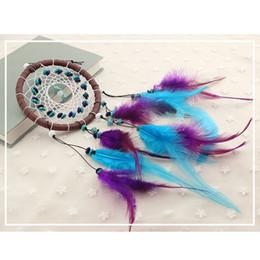 indien türkis Rabatt Neue Mode Geschenk Indien Türkis Dreamcatcher - handgemachte Dream Catcher Net mit Federn Auto Anhänger bunte Dream Catcher