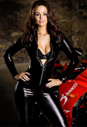 Wholesale Women One Piece Leather - Women sexy lingerie low cut sexy one piece leather clothing slim queen motorcycle jumpsuit jacket pu costume set Free shipping