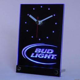 2019 оптовые подсвеченные часы Wholesale-tnc0470 Bud Light Beer Bar 3D LED Table Desk Clock дешево оптовые подсвеченные часы