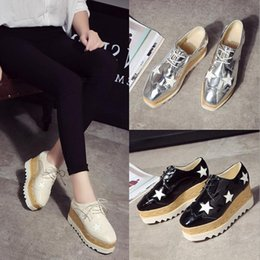 Wholesale Chunky Wedge Platforms White - leather High heels lace-up 2017 Spring Fashion Woman Platform Shoes wedge Single shoes cowhide The stars Shoes