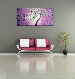 Wholesale One Piece Oil Painting - Hand Painted on Canvas Hot Purple Background Abstract Tree Knife Oil Paintings 1-pieces Artwork Wall Art Home Decoration 50x100cm