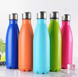 Wholesale Thermo Mug Stainless Steel - 2017 Wholesale Cola Shaped Bottle 17oz 500ml 10colors Cola Water Bottle for Sports Yoga Thermo Water Mug