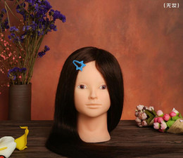 Wholesale Training Doll Head - Training Head can make up Professional 68cm Brown hairdressing dolls head Female Mannequin Hairdressing Styling Mannequin Head