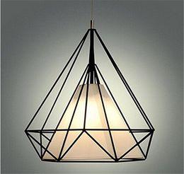 Cage à oiseaux moderne en Ligne-Moderne noir birdcage pendentif lumières fer rétro minimaliste Scandinavian loft pyramide lampe métallique cage avec ampoules led
