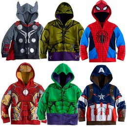 Wholesale Classic Boys Costumes Kids - Hero Children Hoodies Jacket Boy Sport Clothes Costumes Outfits Kids Hooded Sweatshirts Baby Boy's Coats Cotton Zipper Tops 3 4 5 6 7 8 Year