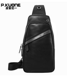 Wholesale Leather Sling Pillow - New Fashion Men Messenger Chest Bag Pack Casual Bag Genuine Leather Men's Shoulder Sling Cross Body Chest Bag