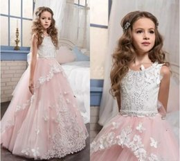 Wholesale Kids Flora Dress - Blush Pink Ball Gown Kids Formal Evening Gown 3D-Flora For Communion Lace Appliques Sweep Train 2017 Flower Girls Dresses For Weddings
