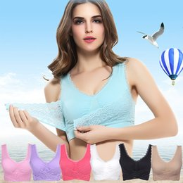 Wholesale Yoga V Neck Sport Bras - Lace V neck Seamless bra Padded Adjustable Underwear Quakeproof full cup sports Yoga sports bras Wire free New 7colors Hotsale Fast shipping