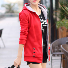 Wholesale Ladies Xl Zip Up Hoodies - Wholesale- Top Quality Ladies Zip-up Warm Fleece Outerwear Sweatshirts Jacket Overcoats Slim Coat Hooded Hoodies Casual Winter Q4609