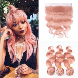 Wholesale Pure Gold 24 - 9A Malaysian Body Wave 3 Bundles With 13x4'' Lace Frontal Closure 4Pcs Lot #Rose Gold Pink Virgin Human Hair Weave With Full Frontals