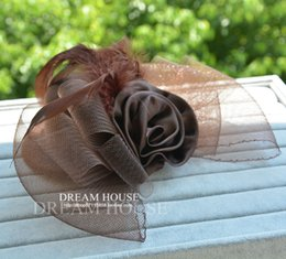Wholesale Steam Holder - Woman headdress hair Vintage Lolita show brown feathers steam gay flowers bow small gift hat headdress hairpin