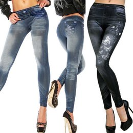Wholesale Denim Print Leggings - Wholesale- WOMENS SEXY SKINNY LEGGINGS JEANS JEGGINGS STRETCHY DENIM PANTS Star Butterfly Print Slim leggings