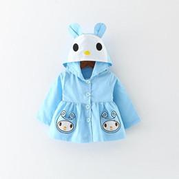 Wholesale Korean Kid Clothes Wholesale - 2017 Autumn Cartoon Girls Coat Korean Fashion Rabbit Long Sleeve Children Jacket Cute Bunny Ear Fall Kids Overcoat Girl Clothes