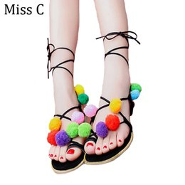 Wholesale Tie Up Balls - Wholesale-2016 Cute Furry Colorful Ball Women Sandals Flat Lace Up Flip Flops Beach Gladiator Sandal Summer Woman Shoes For Holiday WSS527