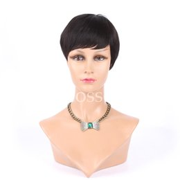 Wholesale Real European Lace Wigs - Human Real Hair Pixie Cut Bob Wigs with bangs Layered Short African American Glueless Wigs For Black Women Full Hair Lace Wigs