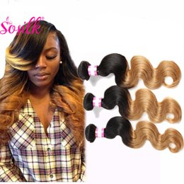 Wholesale Two Toned Indian Remy Hair - HighQuality Raw Indian Remy Human Hair 300G Human Hair Weave Ombre Blonde Virgin Indian Hair Vendors Wet And Wavy Two Tone Color