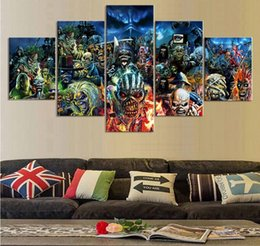 Wholesale Poster Prints - 5 Piece Print Poster Iron Maiden Band Paintings on Canvas Wall Art for Home Decorations Wall Decor Unique Gift Wall Picture