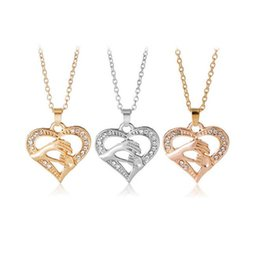 Wholesale S Heart Necklace - Free shipping Mother 's Day fashion hand in hand love peach heart necklace chain chain WFN410 (with chain) mix order 20 pieces a lot