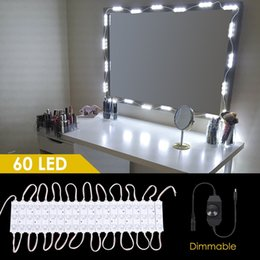 Wholesale Crystal Bathroom Mirror - DIY Bathroom Vanity Lighting Kits For Cosmetic Make-Up Vanity Mirror 60 LEDs Lighted Makeup Mirror Kit,Dimmer & Ul Listed Adapter (Mirror No