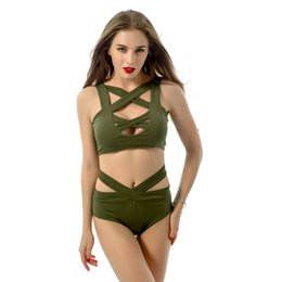 Wholesale Wholesale One Piece Swimsuits - 2017 Hot Sale Sexy Bandage Women Swimwear With Hollow Out Cross Backless BeachWear One Piece Swimsuit Bathing Suits 7 Color Mix S-2XL SW002
