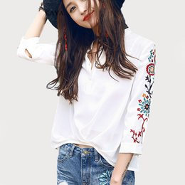 Wholesale Ladies Three Quarter Sleeve Blouses - Female Tops women embroidery blouse shirt Summer Casual White Sexy V-Neck Three Quarter Sleeve Ladies Fashion Streetwear Top