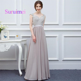 Wholesale Sale Wedding Dresses Fast - Hot Sale A Line Bridesmaid Dresses V Neck Cap Sleeves Sashes Appliques Beading Wedding Dress Fast Shipping