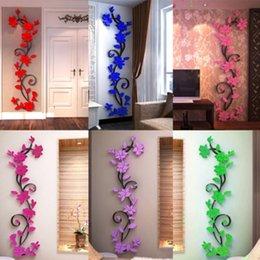 2019 fiori di progettazione casa Bella acrilico fiore di rosa 3D Wall Stickers Home Decor House Room Decorazione del partito Fai da te Art 24 * 80cm Nuovo fiori di progettazione casa economici