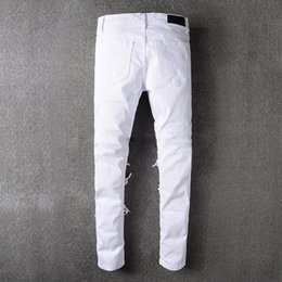 Wholesale Bamboo Pant Men - robin jeans for men Hi-Street Mens Ripped Rider Biker Jeans Motorcycle Slim Fit Washed white Moto Denim Pants Joggers Skinny Men