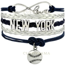 Wholesale Navy Charms - Wholesale-(10 PCS Lot) Infinity Love New York Baseball Charm Multilayer Bracelet Gift for Baseball Fans Navy Blue Silver Grey Leather